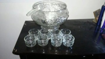 A glass punch bowl