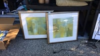 two brown and blue abstract paintings and brown wooden frames Langley, V2Y 2P9