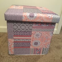 Pink & purple floral collapsing fabric ottoman