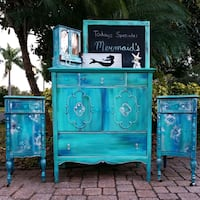 Mermaid Patina Dresser and Upcycled Nightstands Gulfport