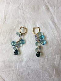 Real gold and Topaz Sapphire beaded drop earrings Derry, 03038