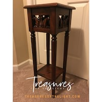 Wooden Embroidered Accent Table Laurel