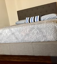New Gray Tufted Padded Queen Bed  Silver Spring