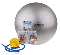 Core Secrets silver large exercise ball, air pump, workout DVDs.    Silver Spring
