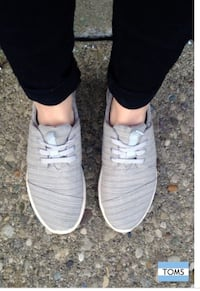 TOMS light gray sneakers Boston