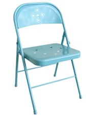 Blue steel folding chair! Perfect condition home decor