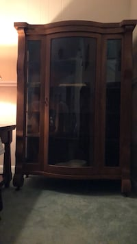 Antique China Cabinet with Bowed Front Glass Vienna, 22181