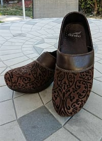 Dansko: Brown Suede/Leather Clogs