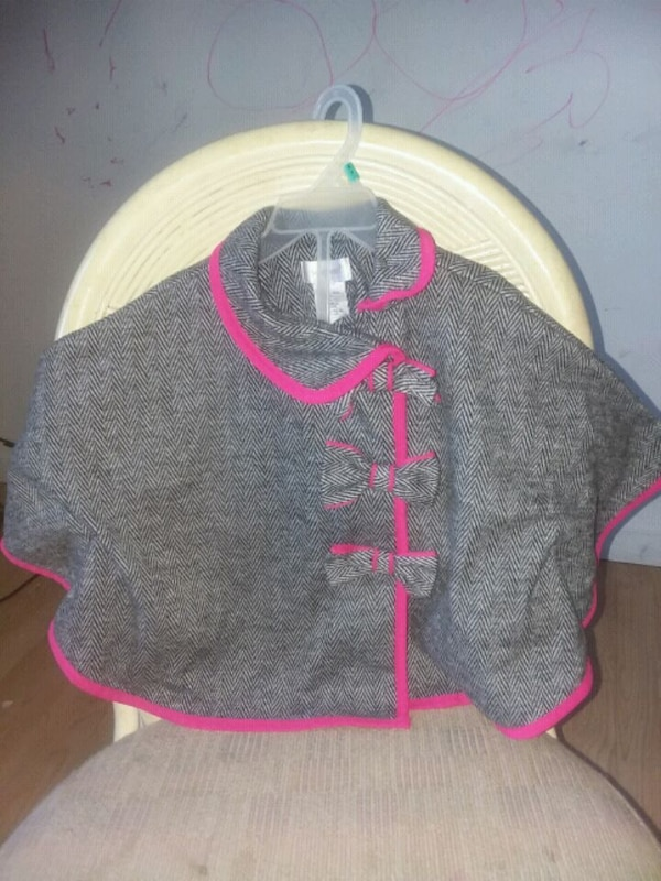 black and pink zip-up, batwing poncho/shawl. 3