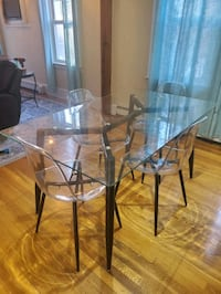Set of 6 acrylic dining chairs