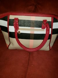 white, black, and red leather tote bag Stockton, 95205