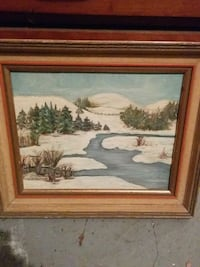 brown wooden framed painting of house Hamilton, L9C 1H4