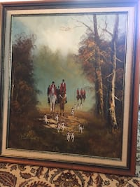 Antique signed hunting theme oil painting Toronto, M2R 3N1