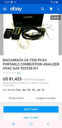 Bacharach portable combustion analylizer tool