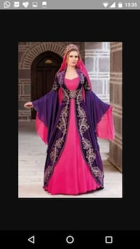 women's purple and pink traditional dress