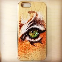 Natural wood iPhones 6/ case handmade+ glass protect Handmade drawing  Oakville, L6L 0P3