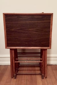 Vintage wooden TV tray tables with stand (set of 4) Kansas City