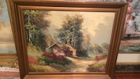 Mid Century painting on canvas signed Lewis framed Woodscape West Palm Beach, 33407