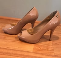 Thalia Sodi Cereza Nude Peep-Toe Pumps 6.5 Sterling, 20164