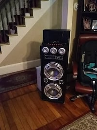 black and gray loaded subwoofer