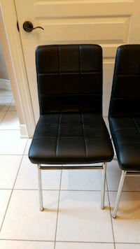 Padded black leather accent chairs ok for kitchen  Vaughan
