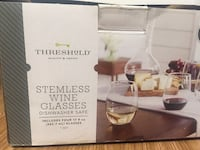 New unused with box set of 4 Stemless Wine Glasses