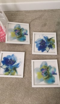 Four blue and green floral wall decors 58 mi