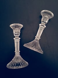 "5 1/2""H Pair of Pressed Glass Candlesticks"