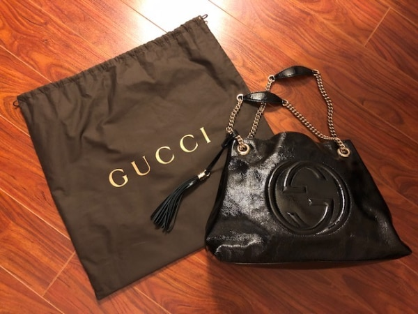 "GUCCI Black Leather Shoulder Bag (like brand new) Medium Size: 15""W x 10.6""H x 5.5""D Please contact if interested"