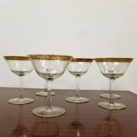 6 Vintage Tiffin Gold Encrusted Champagne Coupes Chicago, 60647