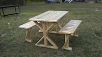 brown wooden picnic table and bench Bolivia, 28422