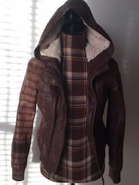 Brand new Garage brown leather jacket in small
