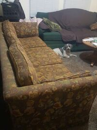 Brown couch with designs