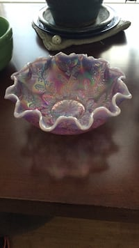 "Fenton Glass Decorative Purple Bowl 8"" Warrenton, 20187"