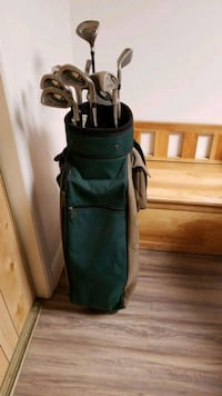 black and green golf bag with golf clubs Mississauga, L4W 2M1