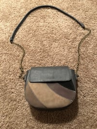 Gray and black leather crossbody bag