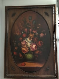 Brown wooden framed painting of flowers Portland, 97267