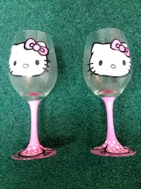 Etsy hand painted hello kitty wine glasses St. Charles, 60175