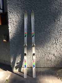 Two white wooden snow ski board set Vancouver, V5R 3V7