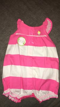 white and pink stripe onesie