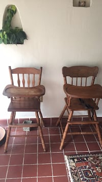 Pair of Twin Wooden  Highchairs Huntington Bay, 11743