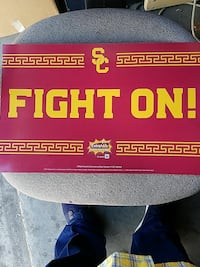 red Fight On signage