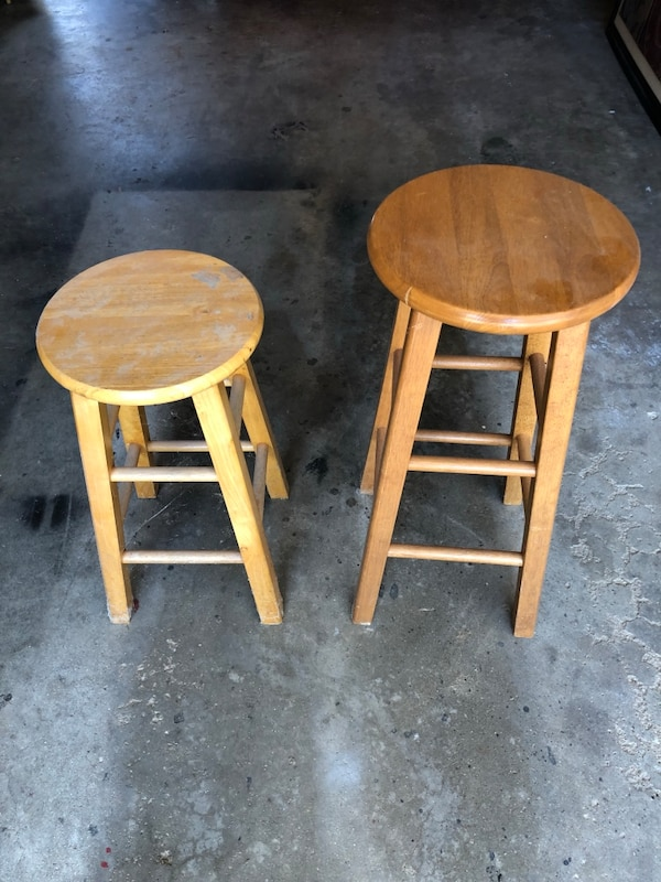 Outstanding 2 Wooden Stools One Is 29 Inches Other Is 14 Inches Caraccident5 Cool Chair Designs And Ideas Caraccident5Info