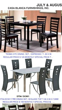 rectangular brown wooden dining table with chairs set Santa Ana