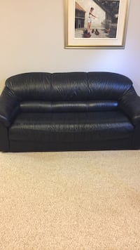 2 Black Genuine Leather Couches Leduc, T9E 8H4