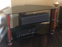 Black glass with wood legs 2-layer tv stand El Paso, 79912