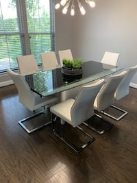 8 person dining room table and matching wine cabinet