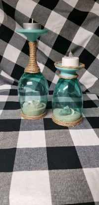 Wine glass candle holders set
