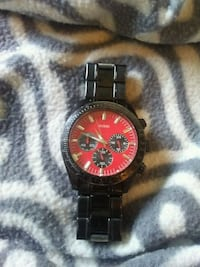 round black chronograph watch with link bracelet Guelph, N1H 8H1