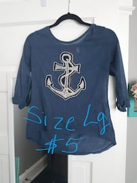 blue and gray Anchor printed 3/4th sleeve shirt
